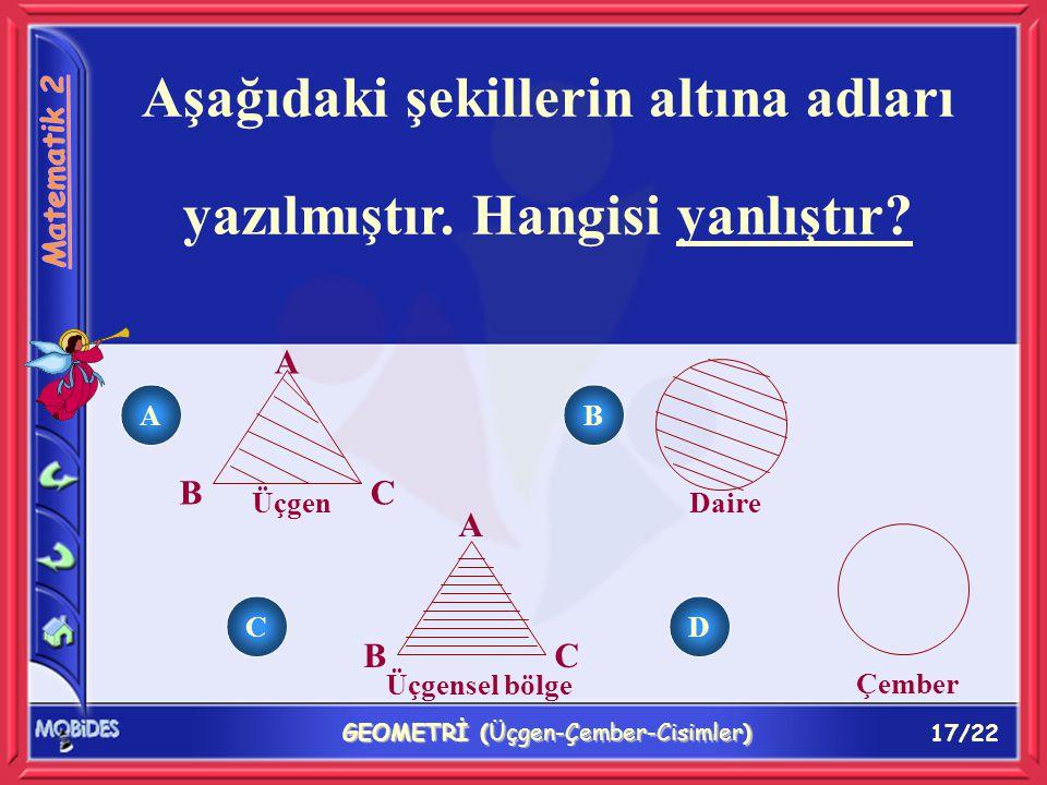 17/22 GEOMETRİ (Üçgen-Çember-Cisimler) Aşağıdaki şekillerin altına adları yazılmıştır.