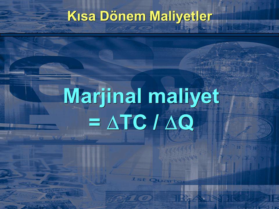 Kısa Dönem Maliyetler Marjinal maliyet =  TC /  Q Marjinal maliyet =  TC /  Q