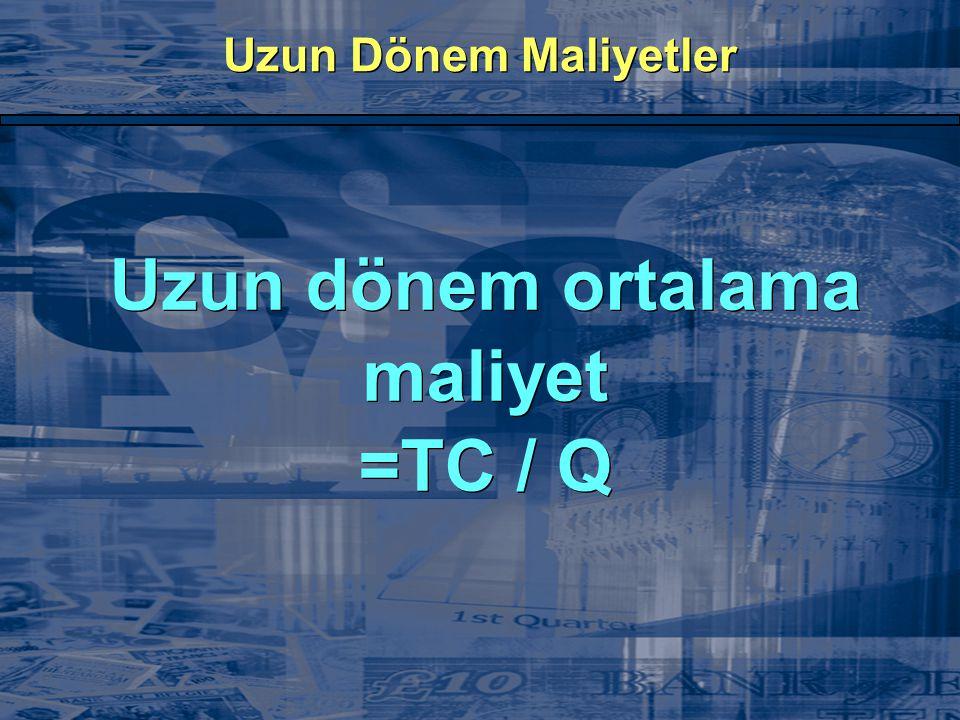 Uzun Dönem Maliyetler Uzun dönem ortalama maliyet =TC / Q Uzun dönem ortalama maliyet =TC / Q