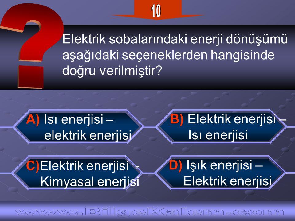 Elektrik sobalarındaki enerji dönüşümü aşağıdaki seçeneklerden hangisinde doğru verilmiştir? D) Işık enerjisi – Elektrik enerjisi A) Isı enerjisi – el