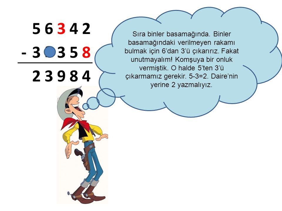2 56342 -3358 23984 Sıra binler basamağında. Binler basamağındaki verilmeyen rakamı bulmak için 6'dan 3'ü çıkarırız. Fakat unutmayalım! Komşuya bir on