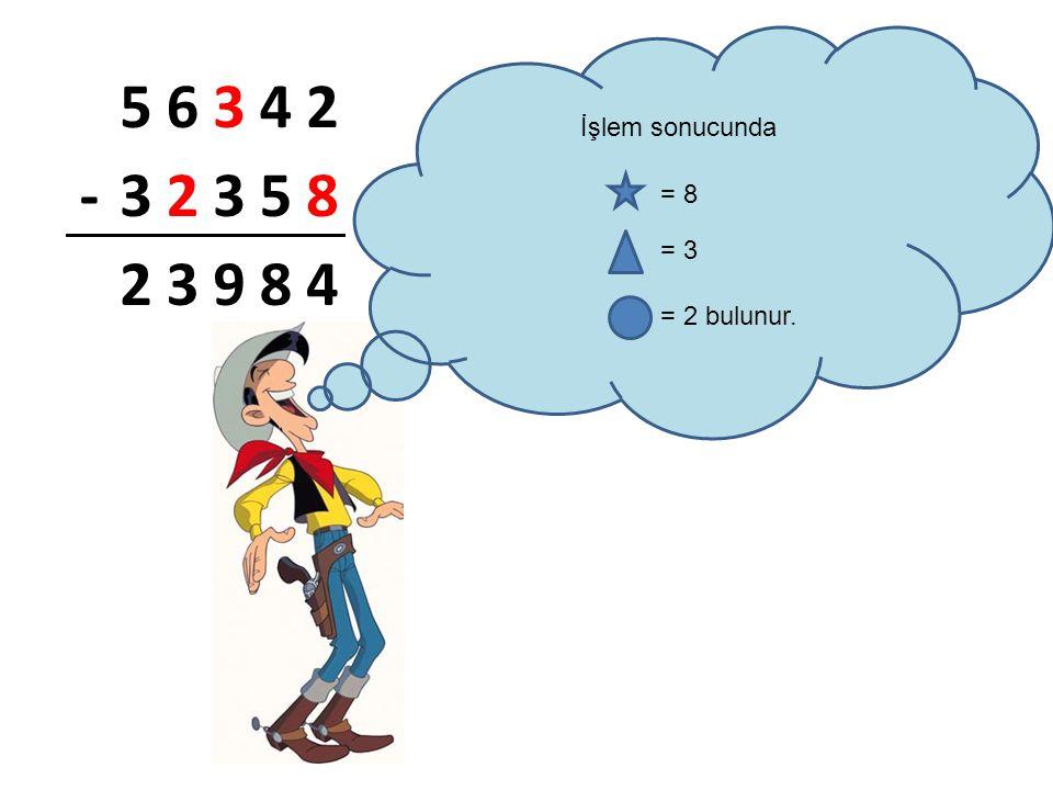 56342 -32358 23984 İşlem sonucunda = 8 = 3 = 2 bulunur.