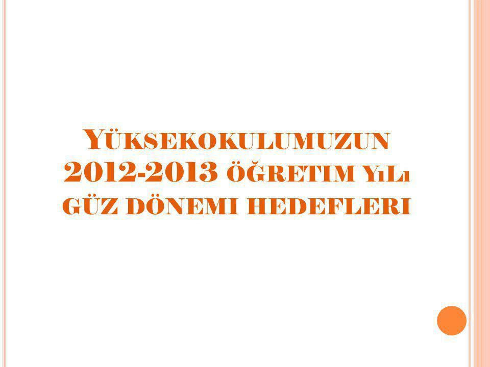 Y ÜKSEKOKULUMUZUN 2012-2013 ÖĞRETIM YıLı GÜZ DÖNEMI HEDEFLERI