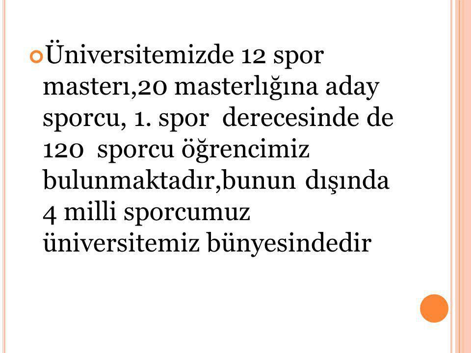 Üniversitemizde 12 spor masterı,20 masterlığına aday sporcu, 1.