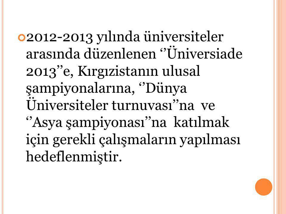 2012-2013 yılında üniversiteler arasında düzenlenen ''Üniversiade 2013''e, Kırgızistanın ulusal şampiyonalarına, ''Dünya Üniversiteler turnuvası''na ve ''Asya şampiyonası''na katılmak için gerekli çalışmaların yapılması hedeflenmiştir.
