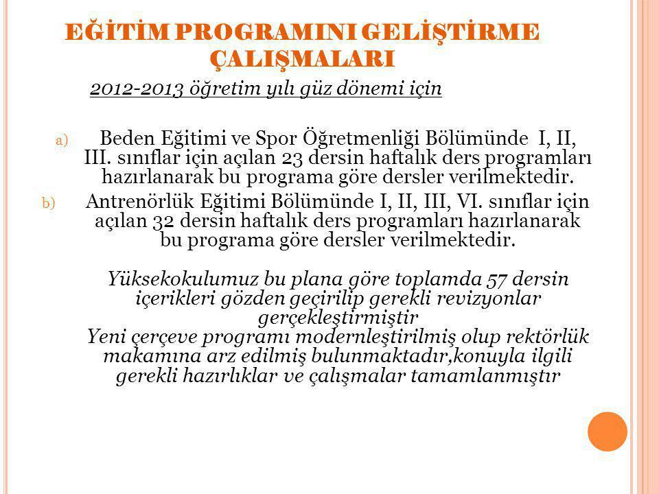 EĞİTİM PROGRAMINI GELİŞTİRME ÇALIŞMALARI 2012-2013 öğretim yılı güz dönemi için a) Beden Eğitimi ve Spor Öğretmenliği Bölümünde I, II, III.