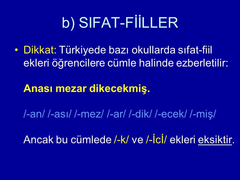 b) SIFAT-FİİLLER Dikkat: Türkiyede bazı okullarda sıfat-fiil ekleri öğrencilere cümle halinde ezberletilir: Anası mezar dikecekmiş. /-an/ /-ası/ /-mez