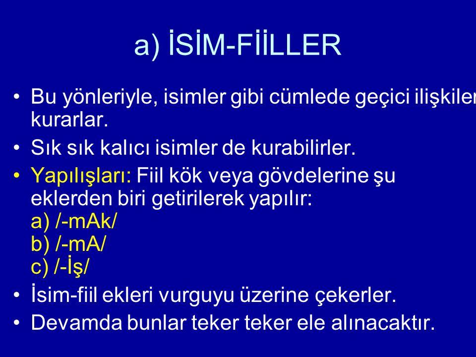 a) İSİM-FİİLLER a) /-mAk/ En çok kullanılan isim-fiil ekidir.