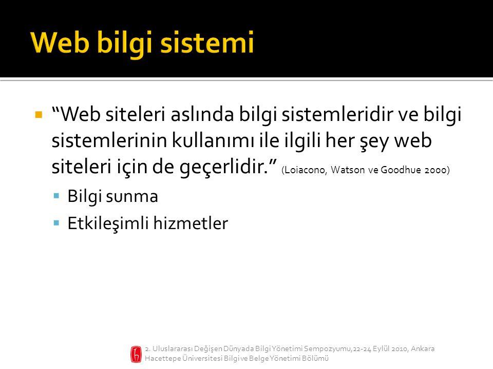  Web siteleri aslında bilgi sistemleridir ve bilgi sistemlerinin kullanımı ile ilgili her şey web siteleri için de geçerlidir. (Loiacono, Watson ve Goodhue 2000)  Bilgi sunma  Etkileşimli hizmetler 2.