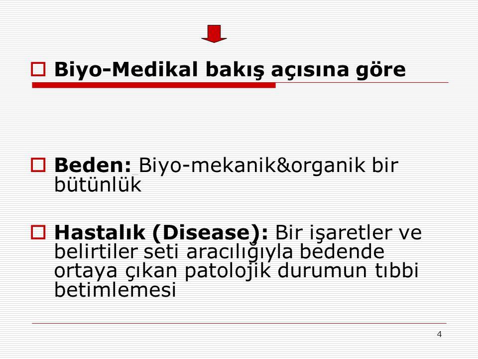 4  Biyo-Medikal bakış açısına göre  Beden: Biyo-mekanik&organik bir bütünlük  Hastalık (Disease): Bir işaretler ve belirtiler seti aracılığıyla bed