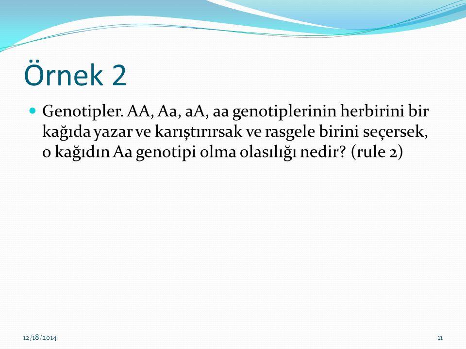 Örnek 2 Genotipler. AA, Aa, aA, aa genotiplerinin herbirini bir kağıda yazar ve karıştırırsak ve rasgele birini seçersek, o kağıdın Aa genotipi olma o