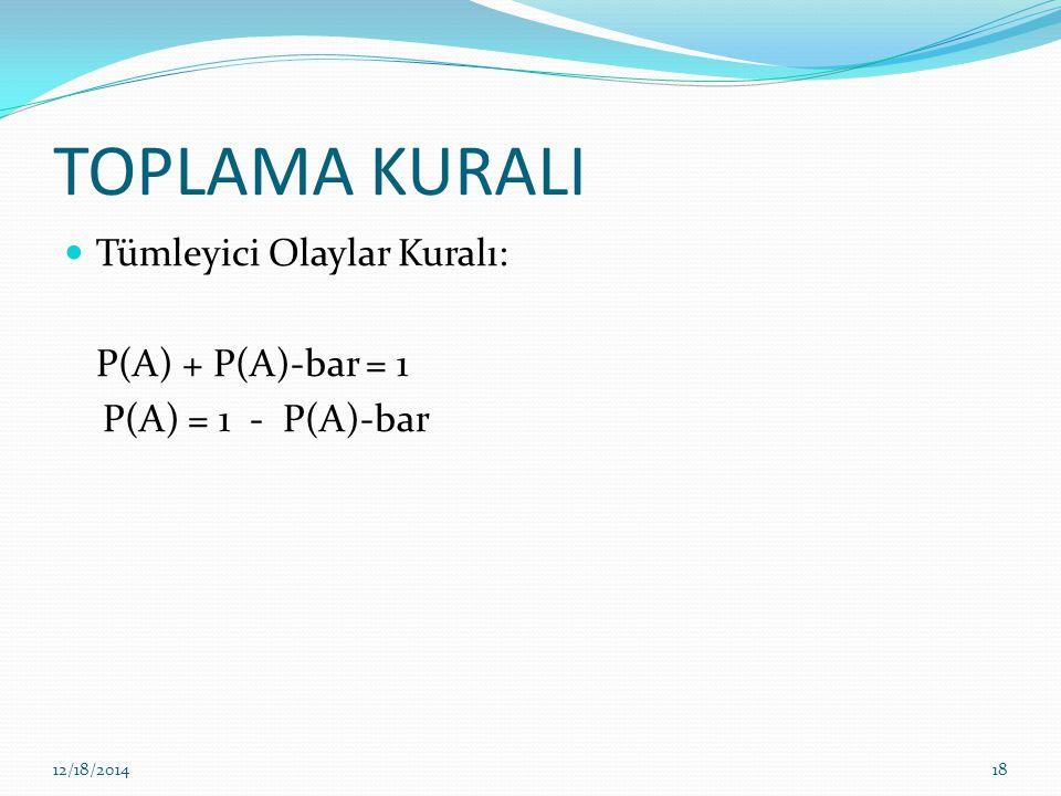TOPLAMA KURALI Tümleyici Olaylar Kuralı: P(A) + P(A)-bar = 1 P(A) = 1 - P(A)-bar 12/18/201418