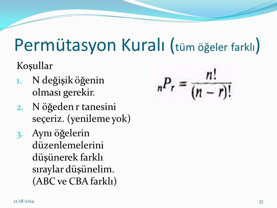 Permütasyon Kuralı ( tüm öğeler farklı ) Koşullar 1. N değişik öğenin olması gerekir. 2. N öğeden r tanesini seçeriz. (yenileme yok) 3. Aynı öğelerin
