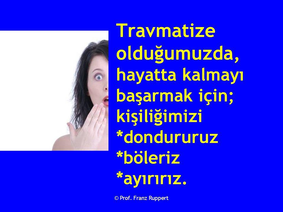 © Prof. Franz Ruppert Travmatize olduğumuzda, hayatta kalmayı başarmak için; kişiliğimizi *dondururuz *böleriz *ayırırız.