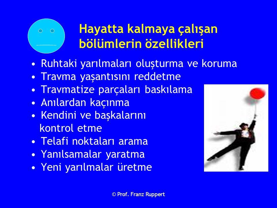 © Prof. Franz Ruppert Hayatta kalmaya çalışan bölümlerin özellikleri Ruhtaki yarılmaları oluşturma ve koruma Travma yaşantısını reddetme Travmatize pa