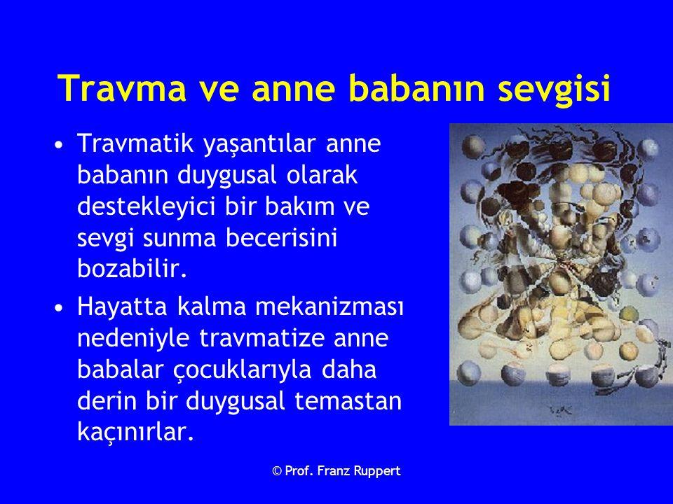 © Prof. Franz Ruppert Travmatik yaşantılar anne babanın duygusal olarak destekleyici bir bakım ve sevgi sunma becerisini bozabilir. Hayatta kalma meka