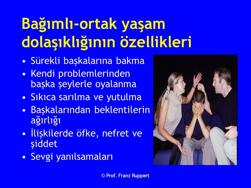© Prof. Franz Ruppert Bağımlı-ortak yaşam dolaşıklığının özellikleri Sürekli başkalarına bakma Kendi problemlerinden başka şeylerle oyalanma Sıkıca sa