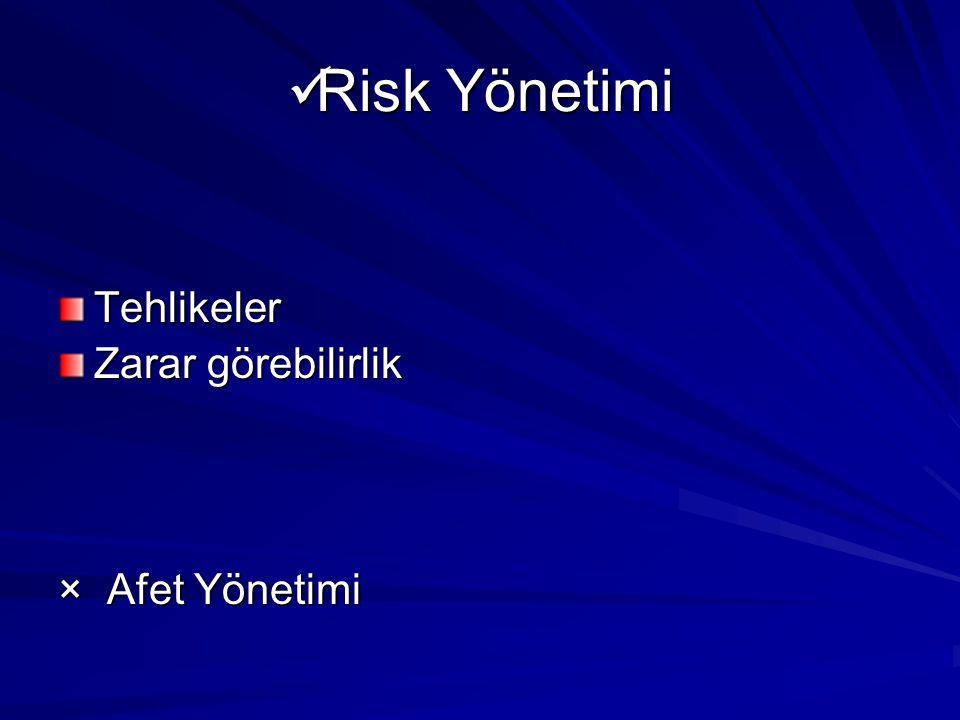 Risk Yönetimi Risk Yönetimi Tehlikeler Zarar görebilirlik × Afet Yönetimi