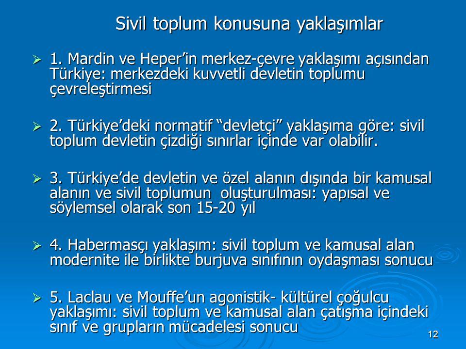 12 Sivil toplum konusuna yaklaşımlar  1. Mardin ve Heper'in merkez-çevre yaklaşımı açısından Türkiye: merkezdeki kuvvetli devletin toplumu çevreleşti
