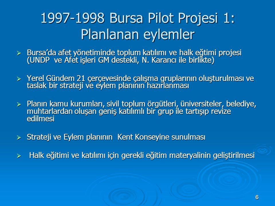 7 1997-1998 Bursa Pilot Projesi 2: Hiyararşi ve Hayal Kırıklığı  Türkiye'deki hiyerarşik yönetim anlayışı, yönetişimin olmayışı  Afetlere karşı hazırlıklı olma konusunda var olan hizmet gruplarının ve afet senaryolarının yeterli olmadığının ortaya çıkması  Devlet kuruluşları, belediyeler ve sivil toplum kuruluşlarının birlikte toplum katılımı ve eğitimi yapmaları için gerekli olan örgütlenme ve network oluşturmanın zorluğu  Sivil toplumsal bir hareketin oluşturulması gerekliliği ve zorluğu