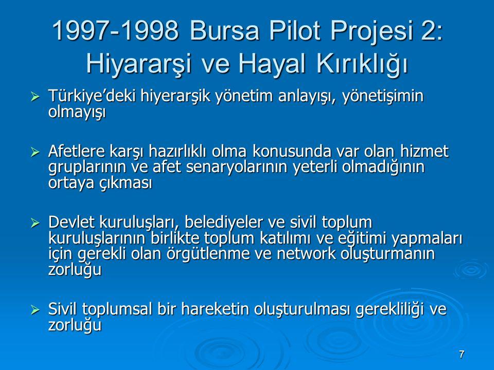 7 1997-1998 Bursa Pilot Projesi 2: Hiyararşi ve Hayal Kırıklığı  Türkiye'deki hiyerarşik yönetim anlayışı, yönetişimin olmayışı  Afetlere karşı hazı