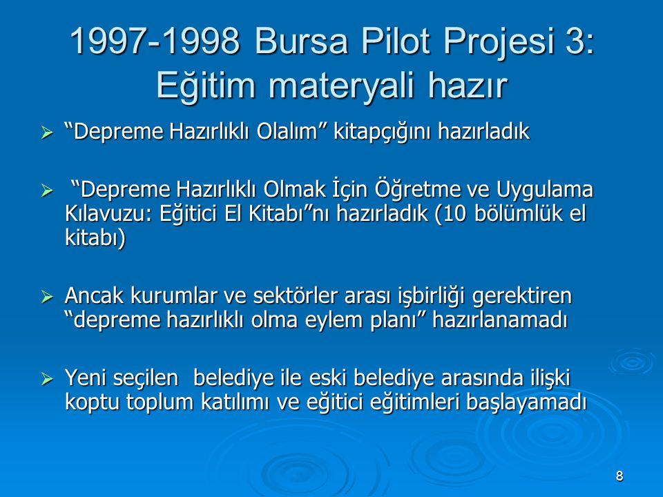 9 17 Ağustos 1999 Marmara Depremi ve Sonrası 1: Bursa'da eğitici eğitimi  Milli Eğitim Bakanlığı, Halk Eğitim Merkezi öğretmenleri ve Sivil Savunma Uzmanları ile birlikte eğitici eğitimi gerçekleştirdik  kadınların katılımı yüksek oldu  Depreme Hazırlıklı Olalım kitapçığından 50 000 bastırıldı ve dağıtıldı  Depreme Hazırlıklı Olmak İçin Öğretme ve Uygulama Kılavuzu: Eğitici El Kitabı ndan da 5000 bastırıldı ve dağıtıldı  Bir musibet ve bin nasihatten daha etkili oldu