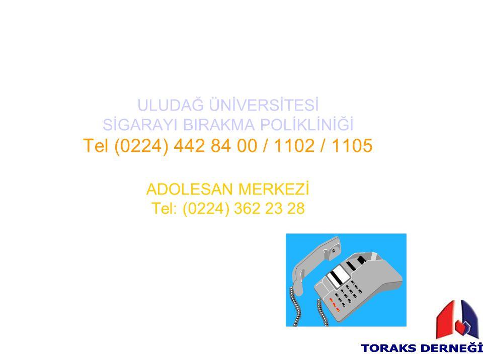 ULUDAĞ ÜNİVERSİTESİ SİGARAYI BIRAKMA POLİKLİNİĞİ Tel (0224) 442 84 00 / 1102 / 1105 ADOLESAN MERKEZİ Tel: (0224) 362 23 28