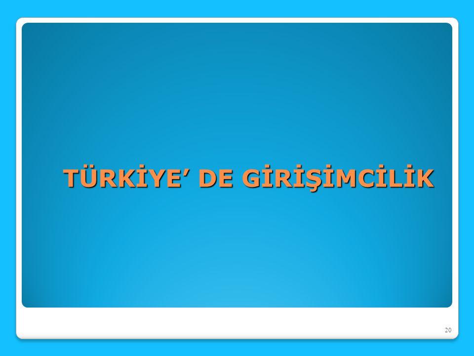 TÜRKİYE' DE GİRİŞİMCİLİK 20