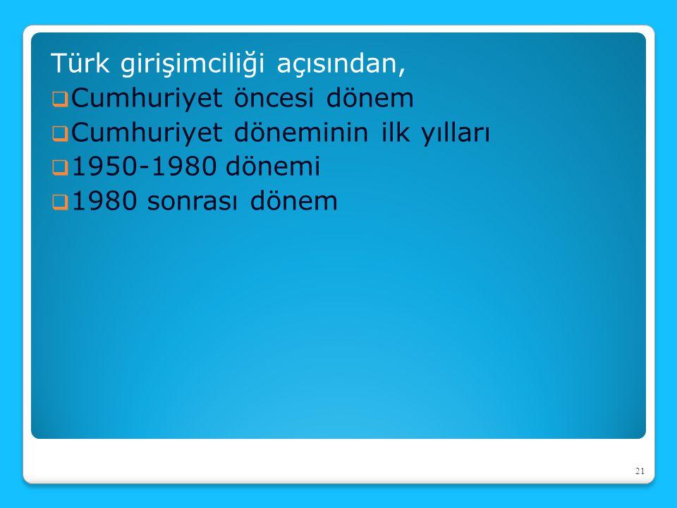 Türk girişimciliği açısından,  Cumhuriyet öncesi dönem  Cumhuriyet döneminin ilk yılları  1950-1980 dönemi  1980 sonrası dönem 21