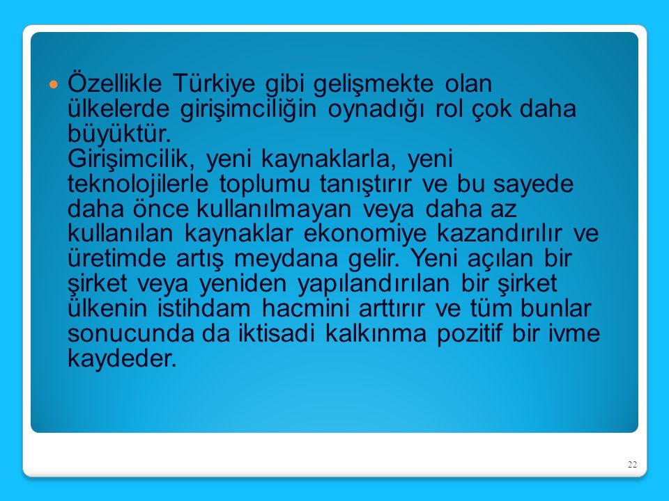 Özellikle Türkiye gibi gelişmekte olan ülkelerde girişimciliğin oynadığı rol çok daha büyüktür. Girişimcilik, yeni kaynaklarla, yeni teknolojilerle to