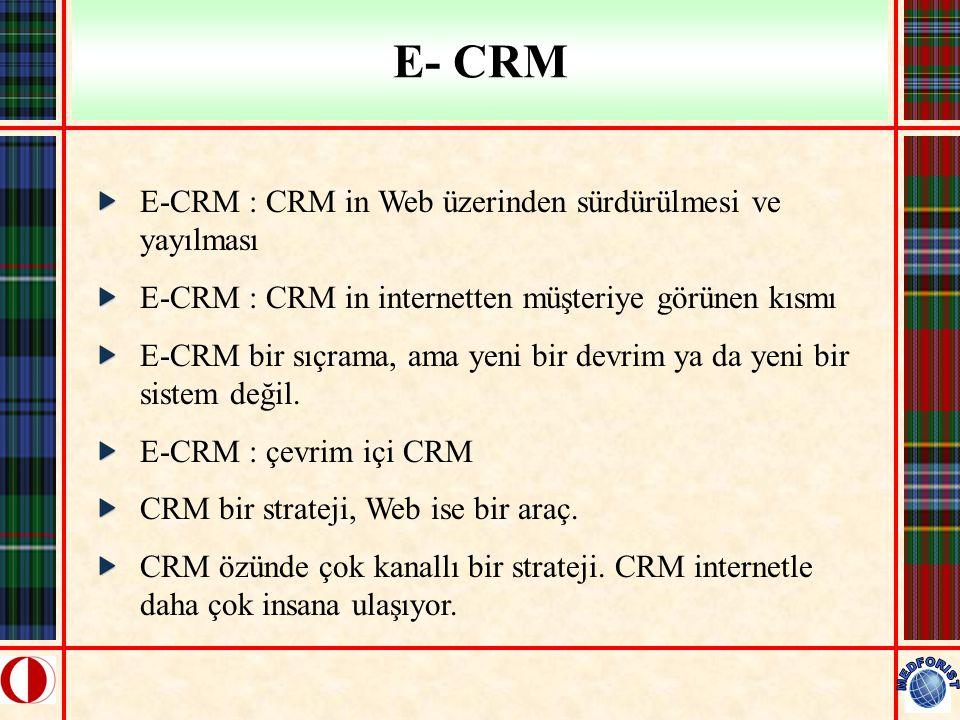 E- CRM E-CRM : CRM in Web üzerinden sürdürülmesi ve yayılması E-CRM : CRM in internetten müşteriye görünen kısmı E-CRM bir sıçrama, ama yeni bir devri