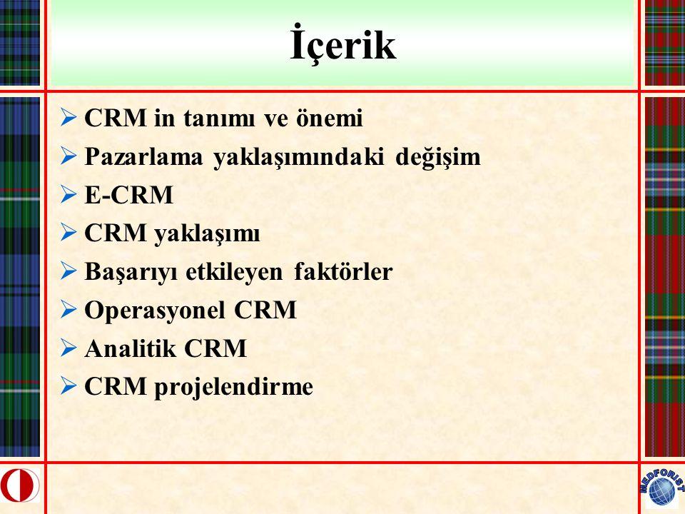 İçerik  CRM in tanımı ve önemi  Pazarlama yaklaşımındaki değişim  E-CRM  CRM yaklaşımı  Başarıyı etkileyen faktörler  Operasyonel CRM  Analitik