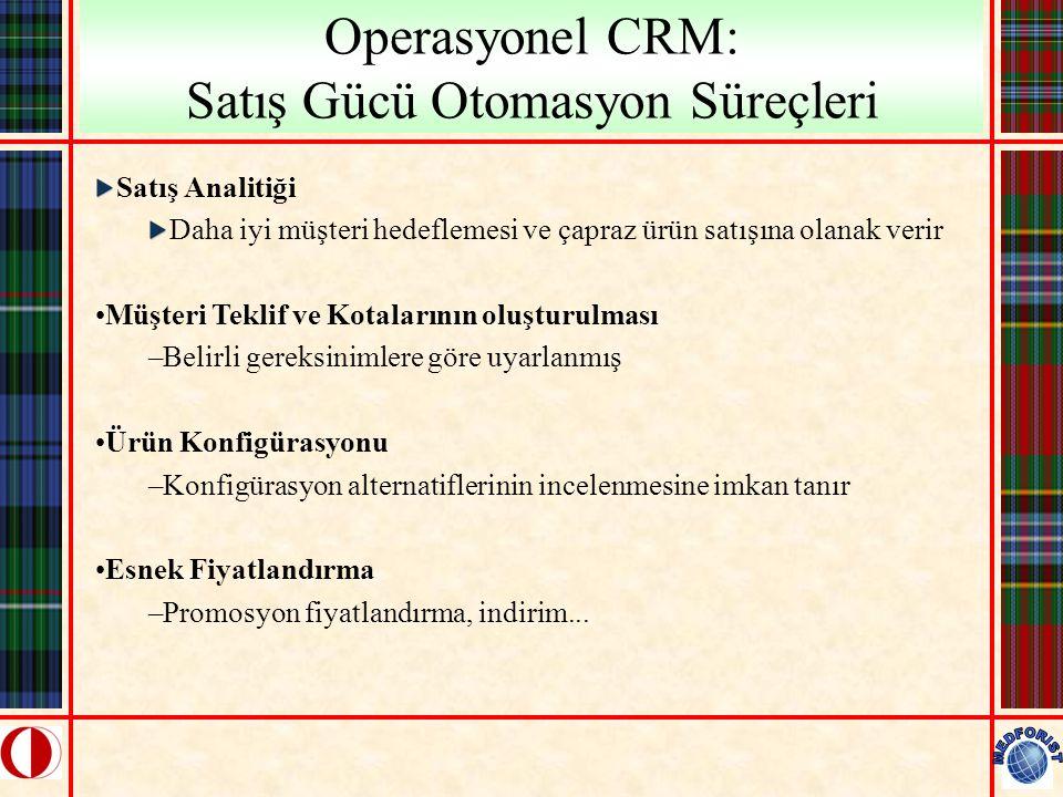 Operasyonel CRM: Satış Gücü Otomasyon Süreçleri Satış Analitiği Daha iyi müşteri hedeflemesi ve çapraz ürün satışına olanak verir Müşteri Teklif ve Ko