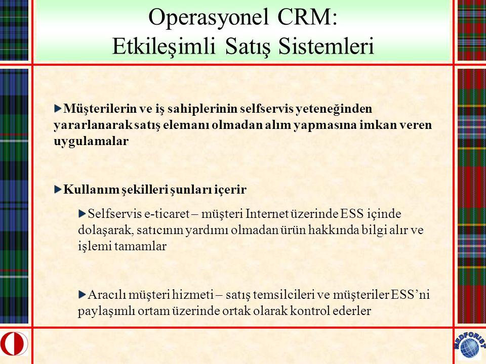 Operasyonel CRM: Etkileşimli Satış Sistemleri Müşterilerin ve iş sahiplerinin selfservis yeteneğinden yararlanarak satış elemanı olmadan alım yapmasın