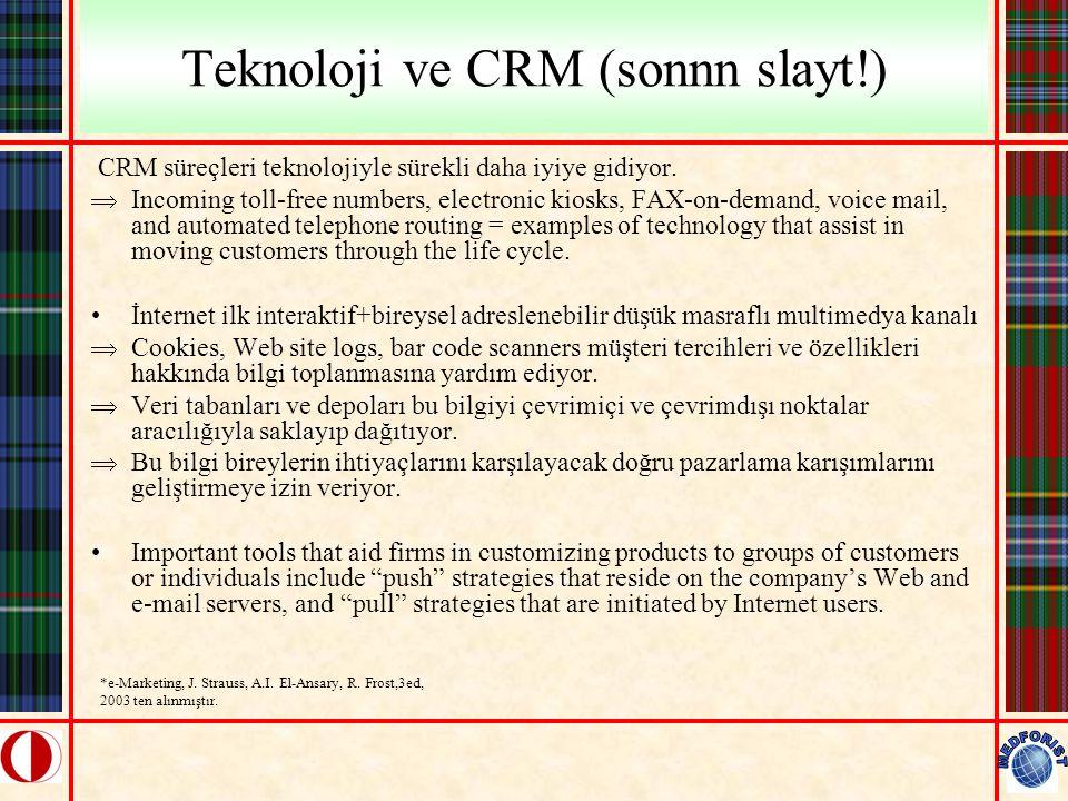 Teknoloji ve CRM (sonnn slayt!) CRM süreçleri teknolojiyle sürekli daha iyiye gidiyor.  Incoming toll-free numbers, electronic kiosks, FAX-on-demand,