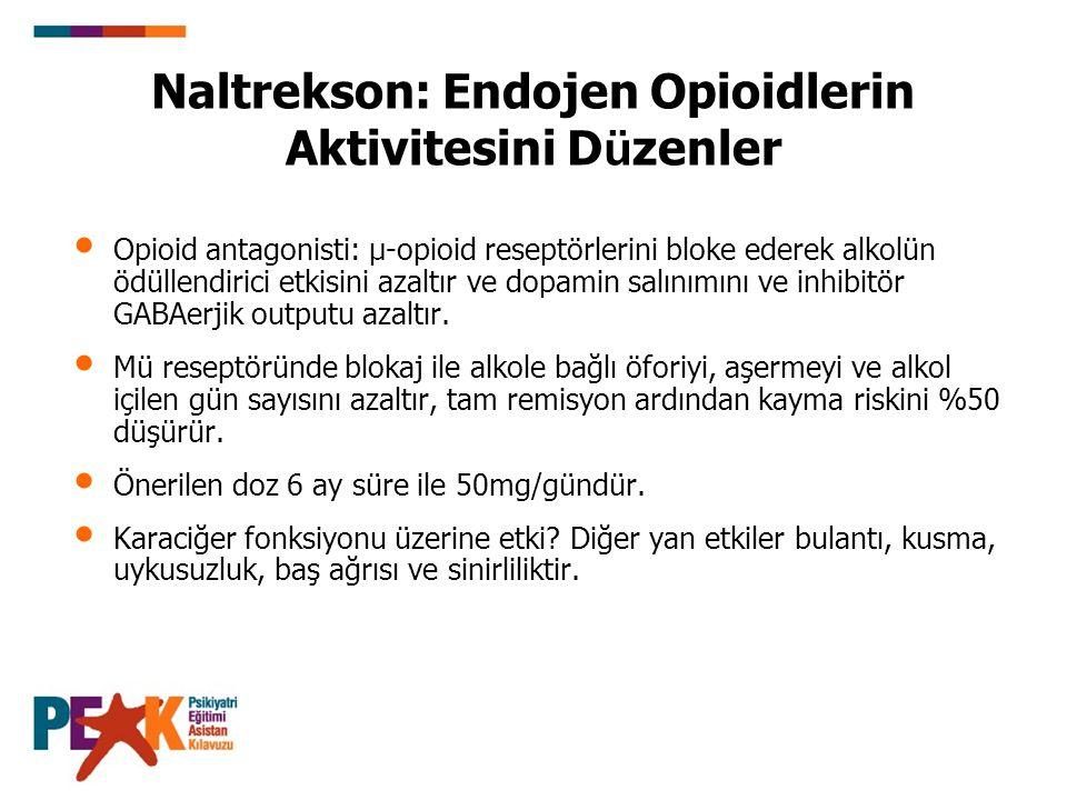 Opioid antagonisti: µ-opioid reseptörlerini bloke ederek alkolün ödüllendirici etkisini azaltır ve dopamin salınımını ve inhibitör GABAerjik outputu a