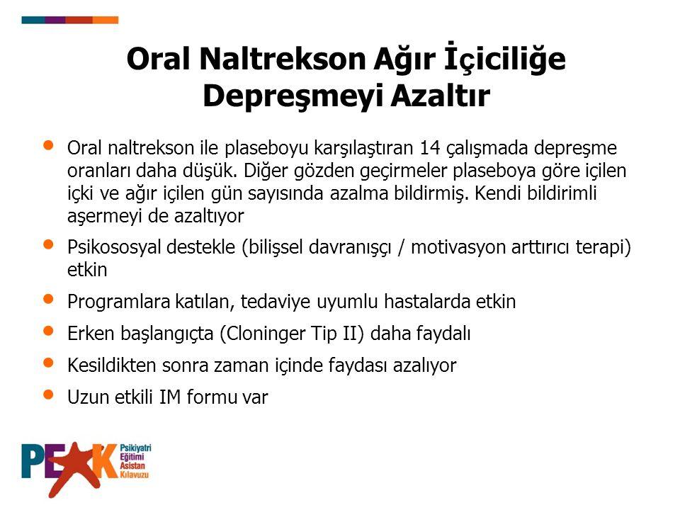 Oral naltrekson ile plaseboyu karşılaştıran 14 çalışmada depreşme oranları daha düşük. Diğer gözden geçirmeler plaseboya göre içilen içki ve ağır içil