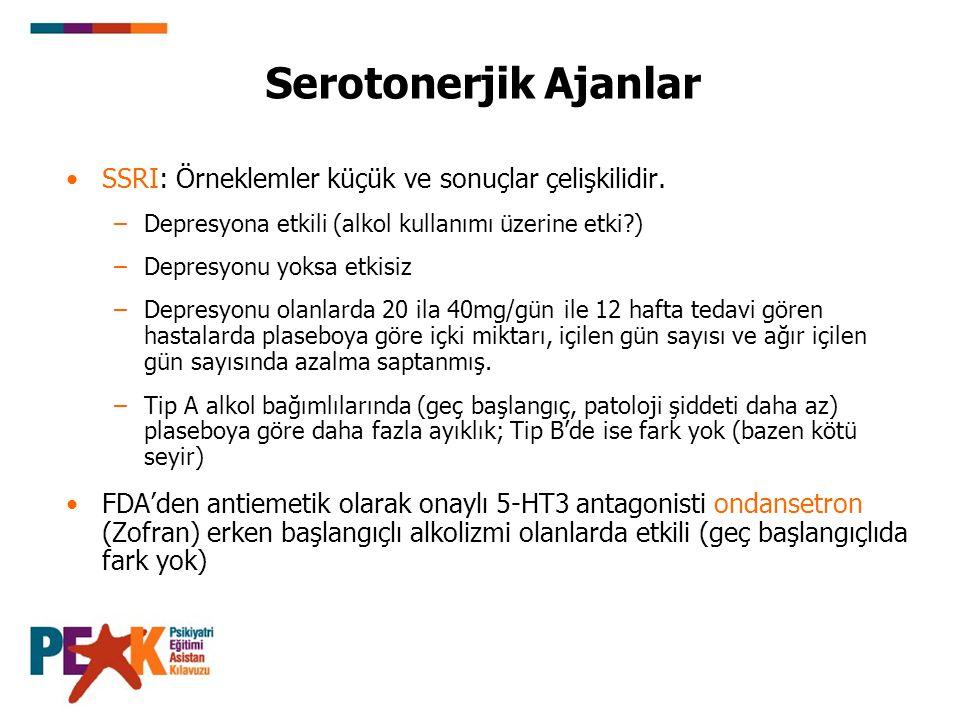 SSRI: Örneklemler küçük ve sonuçlar çelişkilidir. –Depresyona etkili (alkol kullanımı üzerine etki?) –Depresyonu yoksa etkisiz –Depresyonu olanlarda 2