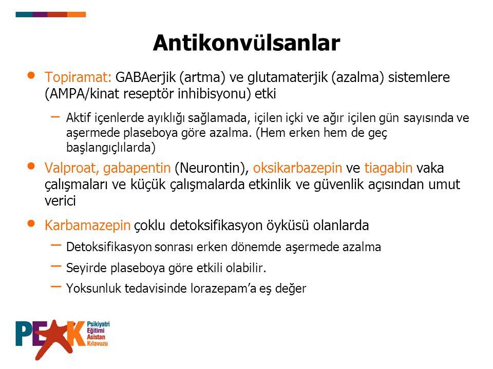 Antikonv ü lsanlar Topiramat: GABAerjik (artma) ve glutamaterjik (azalma) sistemlere (AMPA/kinat reseptör inhibisyonu) etki – Aktif içenlerde ayıklığı
