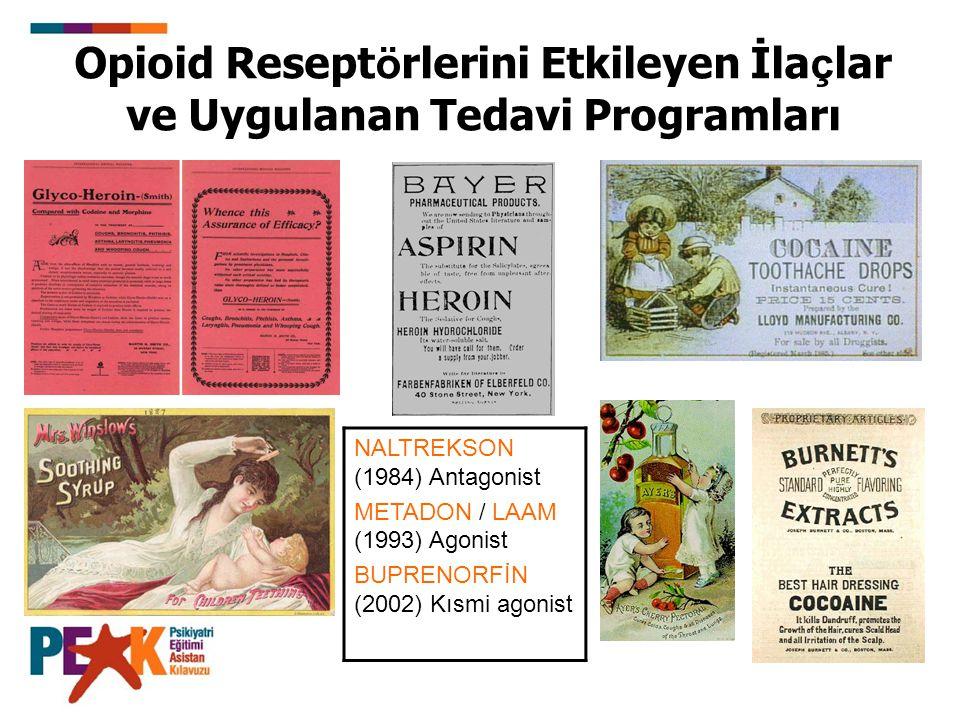 Opioid Resept ö rlerini Etkileyen İla ç lar ve Uygulanan Tedavi Programları NALTREKSON (1984) Antagonist METADON / LAAM (1993) Agonist BUPRENORFİN (20