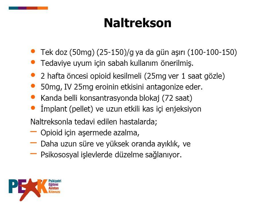 Naltrekson Tek doz (50mg) (25-150)/g ya da gün aşırı (100-100-150) Tedaviye uyum için sabah kullanım önerilmiş. 2 hafta öncesi opioid kesilmeli (25mg