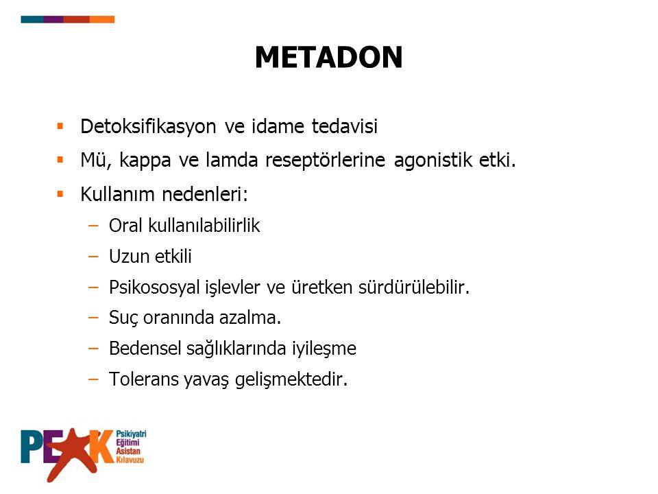 METADON  Detoksifikasyon ve idame tedavisi  Mü, kappa ve lamda reseptörlerine agonistik etki.  Kullanım nedenleri: –Oral kullanılabilirlik –Uzun et