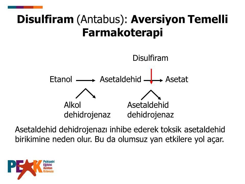 Disulfiram (Antabus): Aversiyon Temelli Farmakoterapi Asetaldehid dehidrojenazı inhibe ederek toksik asetaldehid birikimine neden olur. Bu da olumsuz