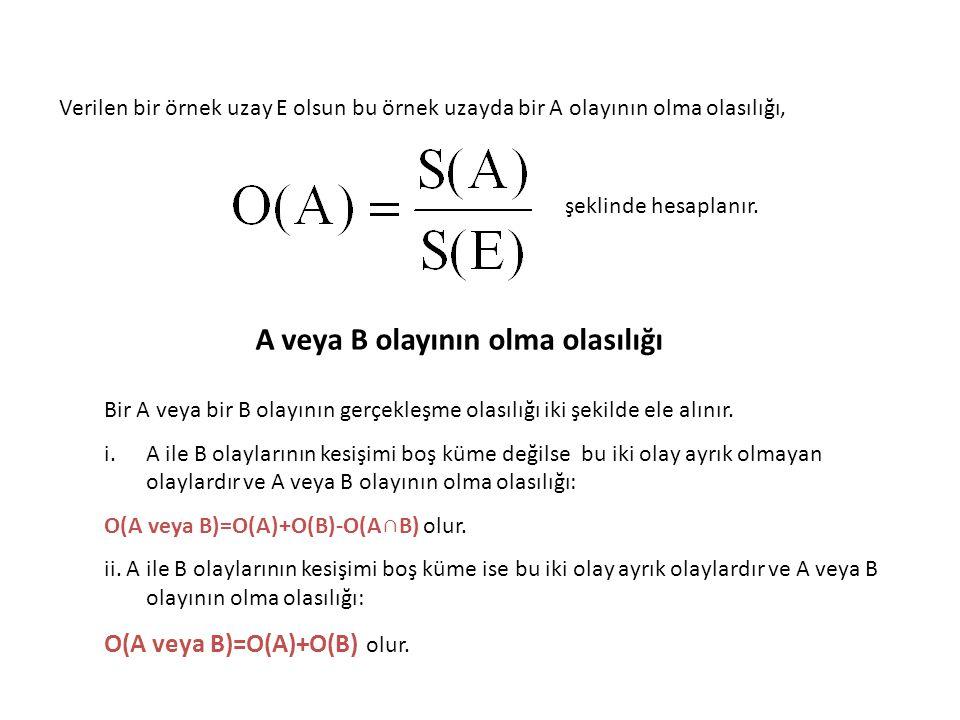 Verilen bir örnek uzay E olsun bu örnek uzayda bir A olayının olma olasılığı, şeklinde hesaplanır. A veya B olayının olma olasılığı Bir A veya bir B o