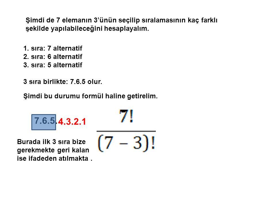 Şimdi de 7 elemanın 3'ünün seçilip sıralamasının kaç farklı şekilde yapılabileceğini hesaplayalım. 1. sıra: 7 alternatif 2. sıra: 6 alternatif 3. sıra