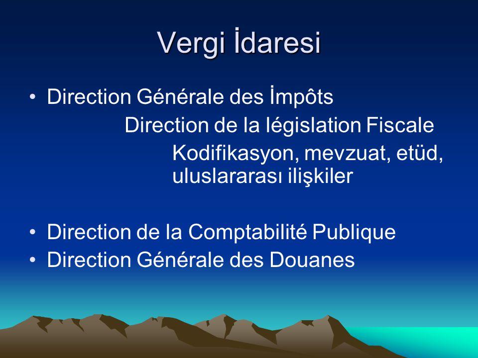 Vergi İdaresi Direction Générale des İmpôts Direction de la législation Fiscale Kodifikasyon, mevzuat, etüd, uluslararası ilişkiler Direction de la Co