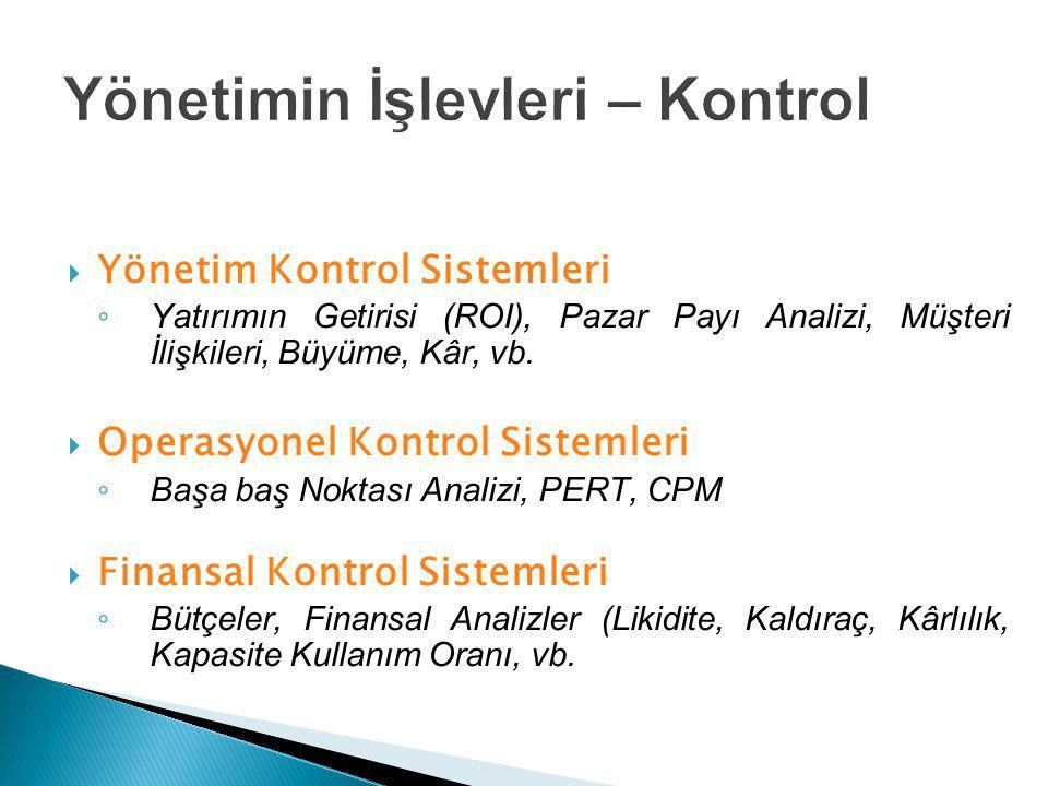  Yönetim Kontrol Sistemleri ◦ Yatırımın Getirisi (ROI), Pazar Payı Analizi, Müşteri İlişkileri, Büyüme, Kâr, vb.  Operasyonel Kontrol Sistemleri ◦ B