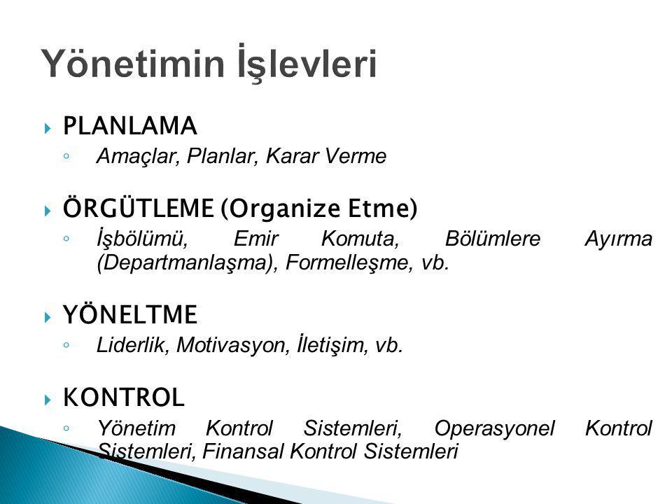  PLANLAMA ◦ Amaçlar, Planlar, Karar Verme  ÖRGÜTLEME (Organize Etme) ◦ İşbölümü, Emir Komuta, Bölümlere Ayırma (Departmanlaşma), Formelleşme, vb. 