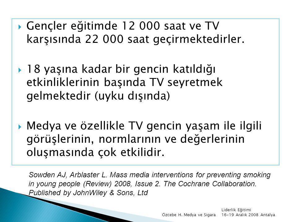  Gençler eğitimde 12 000 saat ve TV karşısında 22 000 saat geçirmektedirler.  18 yaşına kadar bir gencin katıldığı etkinliklerinin başında TV seyret