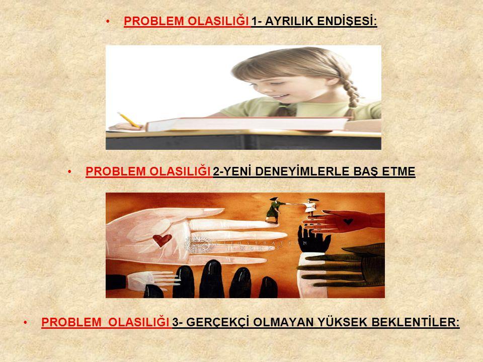 PROBLEM OLASILIĞI 1- AYRILIK ENDİŞESİ: PROBLEM OLASILIĞI 2-YENİ DENEYİMLERLE BAŞ ETME PROBLEM OLASILIĞI 3- GERÇEKÇİ OLMAYAN YÜKSEK BEKLENTİLER: